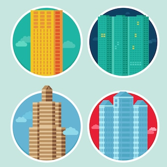Vector city icons in flat style on round emblems