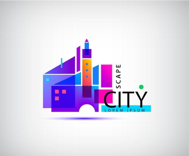 ベクトル都市の景観、不動産のロゴ。幾何学的な抽象的な建物の構成、建築、構造図