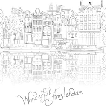 Векторный вид на город амстердамского канала