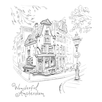 Векторный вид на город амстердам дом и фонарь