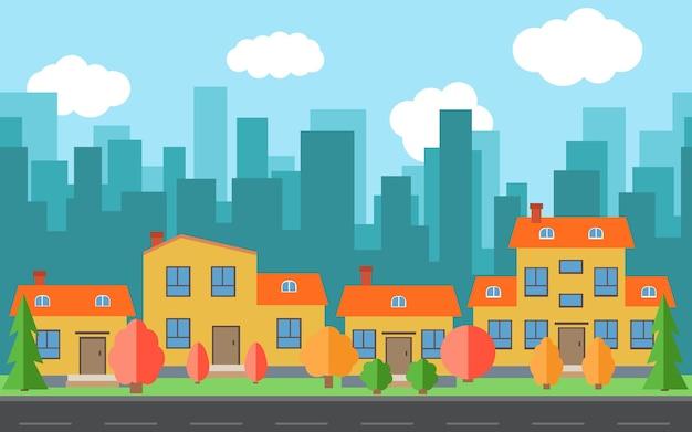 만화 집과 건물 벡터 도시입니다. 평면 스타일 배경 개념에 도로와 도시 공간. 여름 도시 풍경입니다. 배경에 도시 풍경과 스트리트 뷰