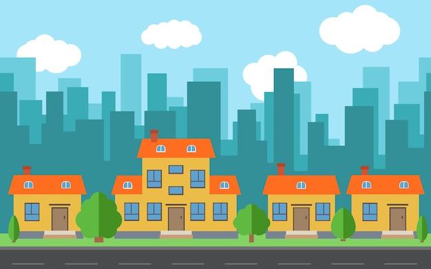 漫画の家や建物のベクトル都市。フラットスタイルの背景コンセプトの道路と都市空間。夏の都市景観。背景に街並みのあるストリートビュー