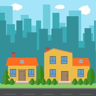 만화 집과 건물 벡터 도시입니다. 평면 syle 배경 개념에 도로와 도시 공간. 여름 도시 풍경입니다. 배경에 도시 풍경과 스트리트 뷰