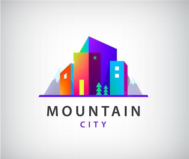 山のロゴ、モダンな建物のアイコンでベクトル都市