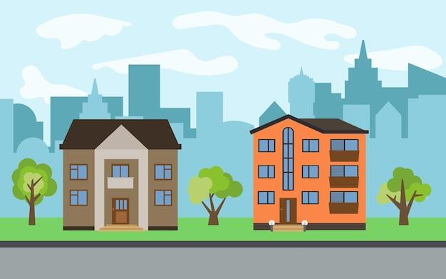 Векторный город с двухэтажными и трехэтажными мультяшными домами и зелеными деревьями в солнечный день. летний городской пейзаж. просмотр улиц с городским пейзажем на заднем плане