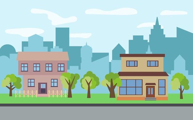 晴れた日に2つの2階建ての漫画の家と緑の木々のあるベクトル都市。夏の都市景観。背景に街並みのあるストリートビュー