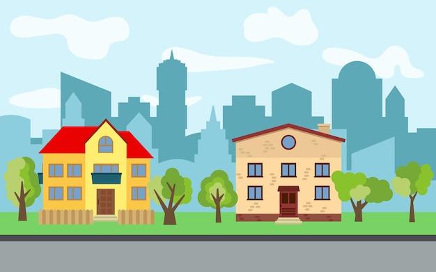 Вектор город с двумя двухэтажными мультипликационными домами и зелеными деревьями в солнечный день. летний городской пейзаж. просмотр улиц с городским пейзажем на заднем плане