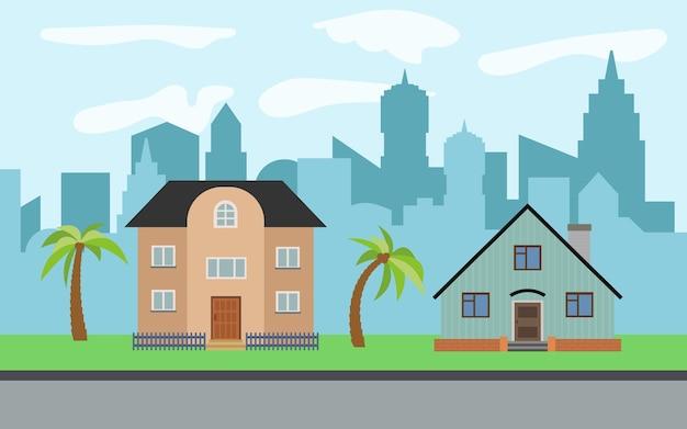 晴れた日に2つの2階建ての漫画の家とヤシの木があるベクトル都市。夏の都市景観。背景に街並みのあるストリートビュー