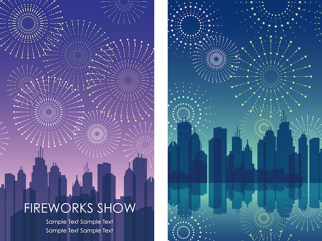 Vector cityscape and fireworks set isolated on a white.