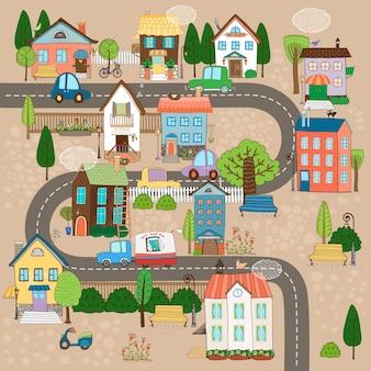 Illustrazione di paesaggio urbano di vettore. città o paese su strada