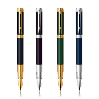 Vector classic pen set with reflection. gold and silver