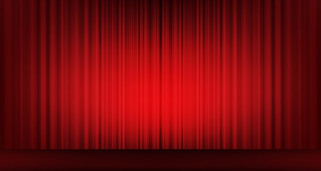 Vector classic red curtain with stage background,modern style.