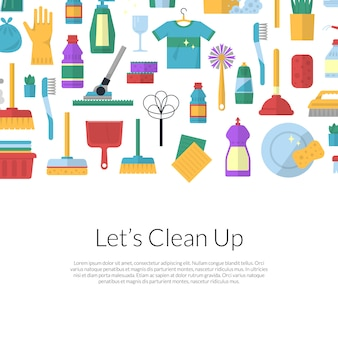Vector cleaning flat background illustration with text template
