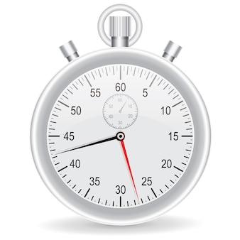 Vector clock watch metallic on white background