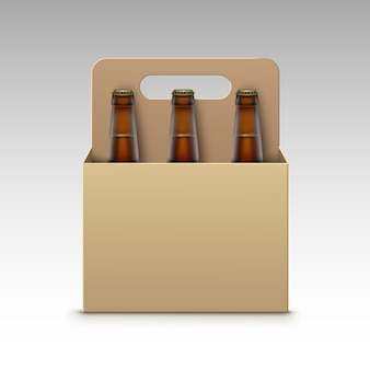 Vector closed blank glass transparent brown bottles of light dark beer