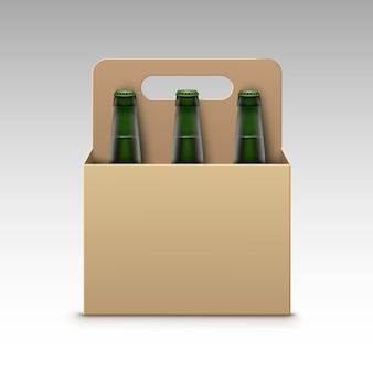 Vector closed blank glass transparent green bottles of light beer