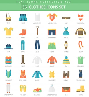 Vector clothes color flat icon set
