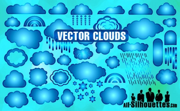 Vector clouds silhouettes