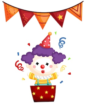 A vector of a clown pop out from a gift