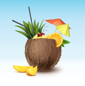 Векторный кокосовый коктейль, украшенный вишней мараскино, дольками ананаса, долькой апельсина, черными соломенными трубками и зелеными, розовыми зонтами для вечеринок, изолированных на фоне