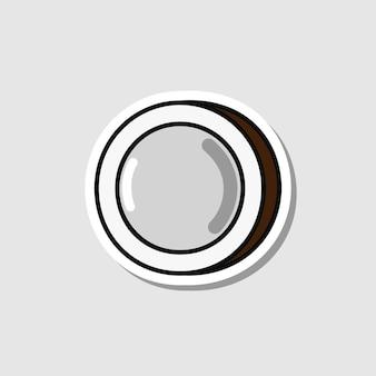 그림자와 함께 만화 스타일 격리 된 너트에서 벡터 코코넛 스티커
