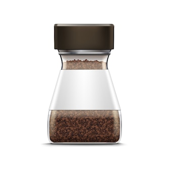 Vector coffee glass jar packaging package isolated on white