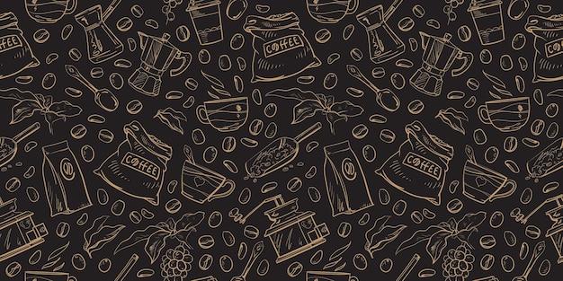 Набор векторных кофе элементы patten