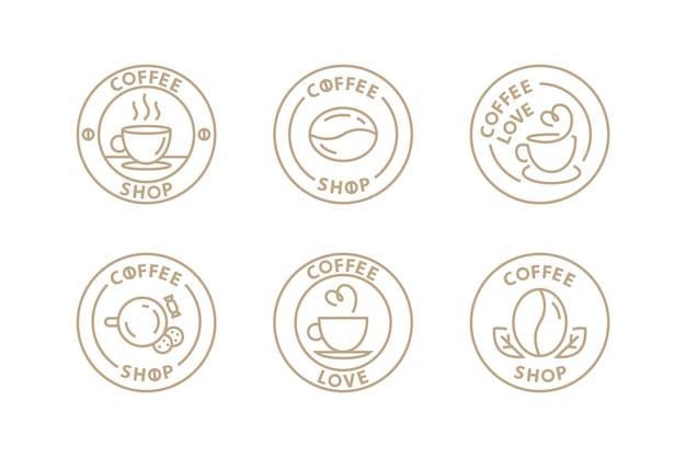モダンなラインデザインのカフェのベクトルコーヒーロゴセットテンプレート。