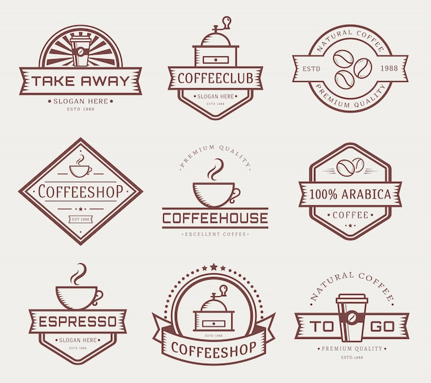 Vector coffee logo template set