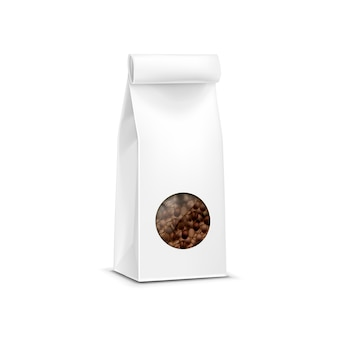 Vector coffee packaging package bag isolated on white