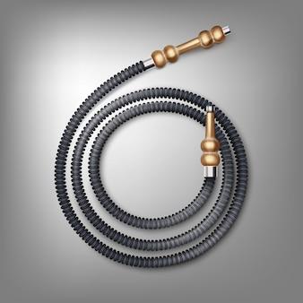 Tubo flessibile del narghilé arrotolato di vettore con vista dall'alto di bocchini in legno marrone isolato su sfondo scuro