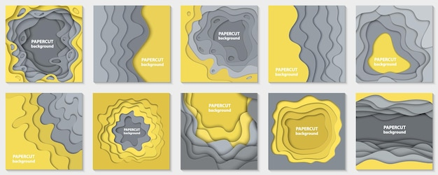 Vector collection of 10 backgrounds with yellow and grey paper cut shapes 3d abstract paper