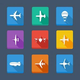 Векторная коллекция самолета и серый. установить значки