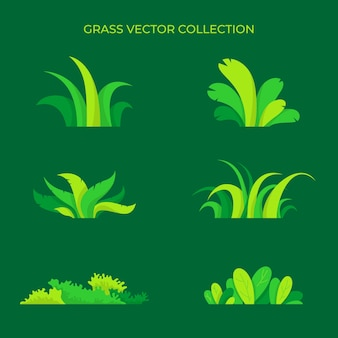 Vector collection of assorted green grass