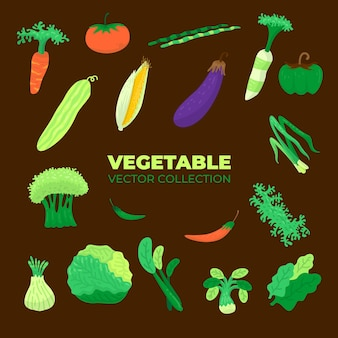 Vector collection of assorted vegetables for vegetariansvector collection of assorted vegetables for vegetarians