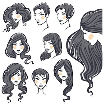 Vector collection of beauty woman portraits with hairstyle variations