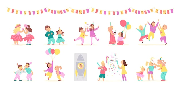 Vector collection of birthday party happy kids with balloons, pinata playing and celebrating isolated on white background. flat hand drawn cartoon style. good for card, pattern, tag, invitation etc.
