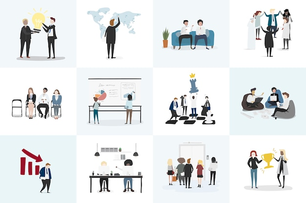 Vector collection of business people
