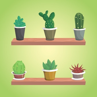 Vector collection of cactus. cute isolated cacti.