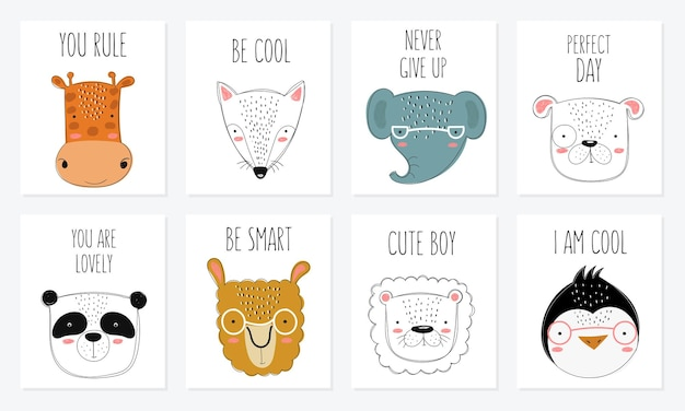 Vector collection of cards with hand drawing cute winter rats in cozy clothes