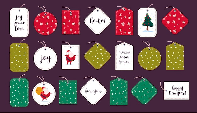 Vector collection of christmas gift tags badges different shapes isolated on dark background emblems for xmas holiday presents packaging pattern text congratulations santa claus character desig