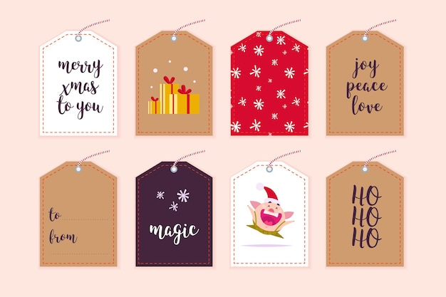 Vector collection of christmas gift tags badges different shapes isolated on light background emblems for xmas holiday present packaging pattern text place congratulation new year pig character