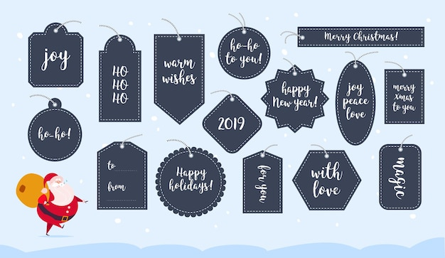Vector collection of christmas gift tags and badges isolated on light background. emblems for xmas holiday presents packaging. text place, congratulations, lettering, new year character design.