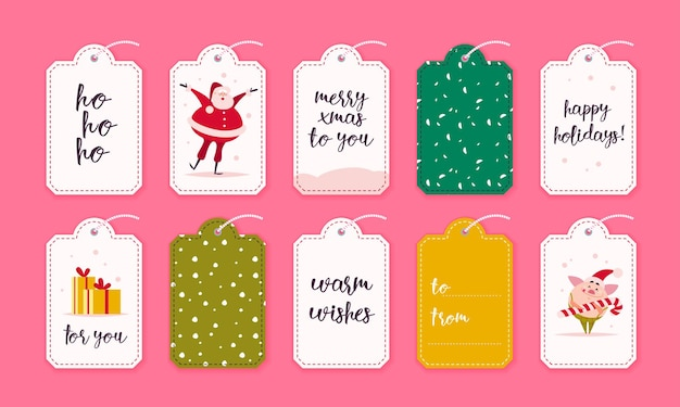 Vector collection of christmas gift tags and badges isolated on pink background. emblems for xmas holiday presents packaging. pattern, text place, congratulations, new year character design. Premium Vector
