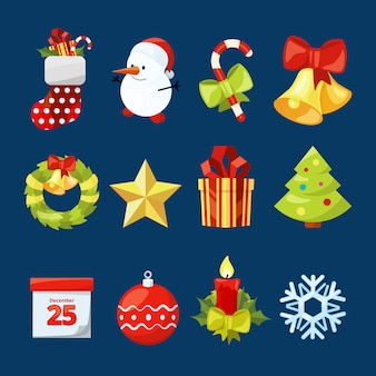 Vector collection of christmas icons. illustrations set for celebration