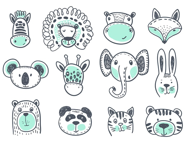 Vector collection of cute animal heads for baby and children design