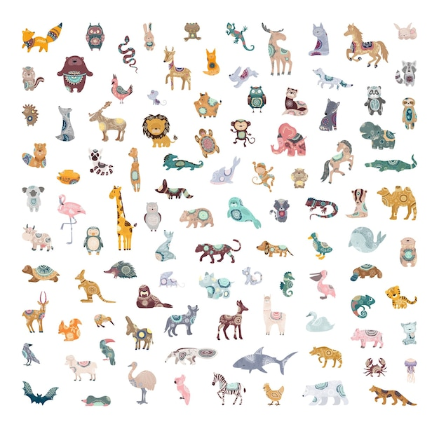Vector collection of cute animals with abstract patterns