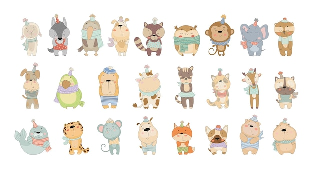 Vector collection of cute animals
