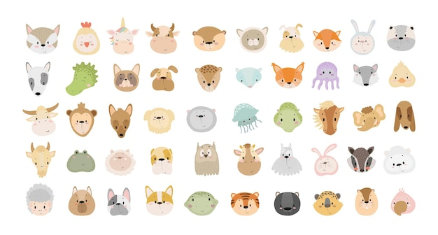 Vector collection of cute cartoon animal faces characters for childrens books cards
