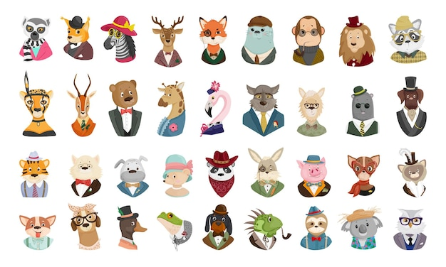 Vector collection of cute cartoon animal portraits